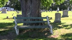Cemetary Bench - stock footage