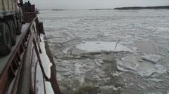 Lena River. Yakutsk, Siberia. Ferry and ice blocks. Stock Footage