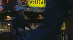 NYC Cop & horse next to Deli sign - stock footage