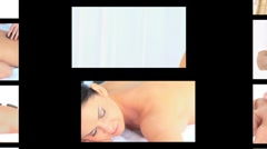 Montage of women chilling out at the spa Stock Footage
