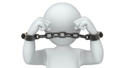 3d man tears the handcuffs Stock Footage