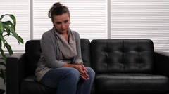 Woman in the waiting room Stock Footage