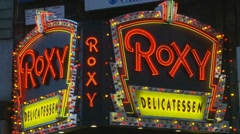 Roxy Deli neon sign Stock Footage