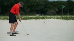 golfer in the sand trap - stock footage