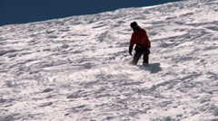 Snowboard on powder - wipeout - stock footage