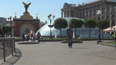 People walking in Square of independence in Kiev, Ukraine Stock Footage