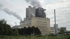 Lignite-fired power plant - stock footage