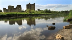 Trim Castle from the Boyne River, Ireland GFHD Stock Footage