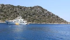 Voyage. Turkey, Kekova-Simena Region, white yacht - stock footage