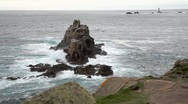 Stock Video Footage of Waves crash onto rocks at Lands End (Cornwall, England)