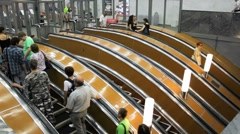 Escalator into subway, St. Petersburg, Russia Stock Footage