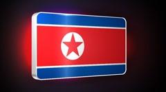 North Korea 3d flag Stock Footage