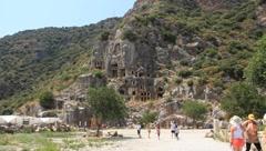 Rock-cut tombs of the ancient Lycian necropolis. Myra (Demre), Turkey Stock Footage