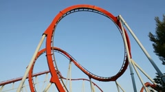 Roller coaster at Port Aventura, Spain Stock Footage