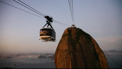 Sugar Loaf Mountain sunset cable car Rio de Janeiro Brazil FULL HD 1080P Stock Footage