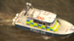 Police boat on river Stock Footage