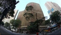Sao Paulo Brazil skyline Copan Building fisheye FULL HD 1080P Stock Footage