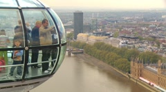 View from the London Eye observation wheel Stock Footage