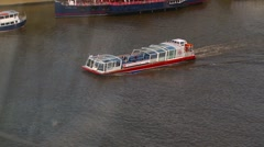 Sightseeing boat on the Thames River Stock Footage