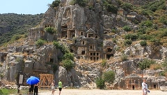 Rock-cut tombs of the ancient Lycian necropolis. Myra (Demre), Turkey - stock footage