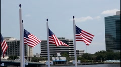 Stock Video Footage of breeze blown flags Jacksonville