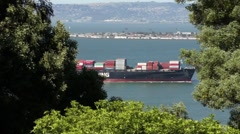 Cargo Ship in the Bay HD Stock Footage