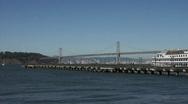 Pier and bay Bridge in San Francisco HD Stock Footage