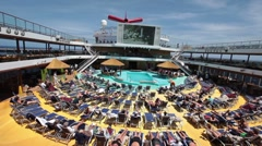 Cruise ship swim outdoor movie P HD 1346 - stock footage