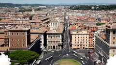 Cityscape Rome above, shows  Piazza Venezia and via del Corso between houses Stock Footage