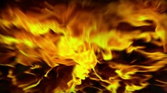 Iron skull in flame - stock footage