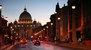 Stock Video Footage of Via della Conciliazione at street leading to Sant Peters Cathedral