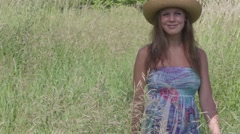 Summer women in Meadow Stock Footage