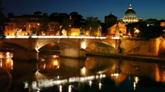 Cityscape bridge over the river, the dome of Saint Peters Cathedral Stock Footage