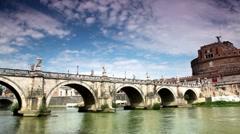 Sant Angelo Bridge and Sant Angelo Castel - stock footage