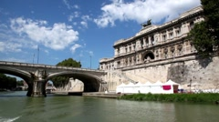 Ponte Umberto I and Edifice of The Supreme Court of Cassation Stock Footage