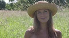 Stock Video Footage of Summer women in Meadow