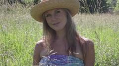 Summer women in Meadow - stock footage