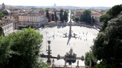 View of city from above, Piazza del Popolo with obelisk on it and people walk Stock Footage