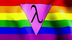 Waving rainbow flag lambda triangle Stock Footage
