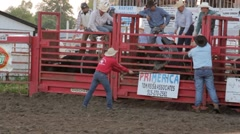 Stock Footage - Rodeo - Bull Rider gets slammed to the gorund. Stock Footage