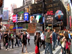 Times Square People Time lapse Crossing Street Day Seventh Avenue Stock Footage