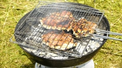 HD - barbecue over a fire - stock footage