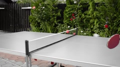 A ping pong table black and white with selective colour Stock Footage