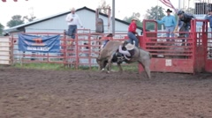 Stock Footage - Bull Rider thrown from, then attacked bull Stock Footage