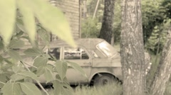 Old broken car vintage styled clip Stock Footage