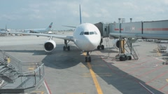Airbus Passenger Gate Parked At An Airport Jet Bridge Jetway  Stock Footage