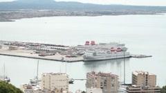 Palma Mallorca ferry cruise harbor pan P HD 9876 Stock Footage