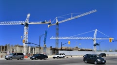 Stock Video Footage of Cranes of Construction Time-Lapse