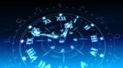 Blue Drawn Clock - Clock 15 (HD) Stock Footage