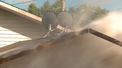 Disaster, water main break, #12 roof being torn apart. Stock Footage